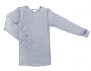 MANYMONTHS T-Shirt Manches Longues Laine Mérinos - Bright Silver - 12-30 mois