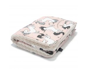 SEVIRA KIDS Couverture bébé double face coton et Minky - Collection Licorne Rose