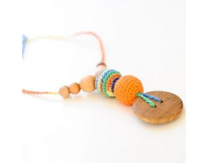 KANGAROO CARE Collier d'allaitement et de portage Orange & Green mix Chêne - BN011