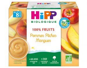 HIPP 100% Fruits - 4 x 100 g Pommes Pêches Mangues - 8M