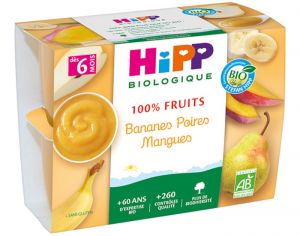 HIPP 100% Fruits - 4 x 100 g Bananes Poires Mangues - 6 M