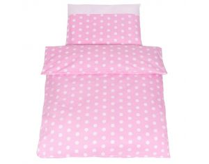 SEVIRA KIDS Parure de lit bébé - Collection Pois Chic Rose Rose
