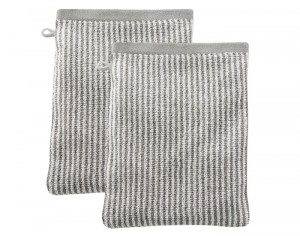 LIVING CRAFTS Lot de 2 Gants de Toilette - Sable Rayé Ecru - 22 x 16 cm