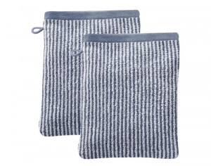 LIVING CRAFTS Lot de 2 Gants de Toilette - Bleu Rayé Ecru - 22 x 16 cm