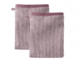 LIVING CRAFTS Lot de 2 Gants de Toilette - Violine Rayé Ecru - 22 x 16 cm