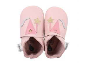 BOBUX Chaussons Bébé Soft Soles en cuir - Magic rose