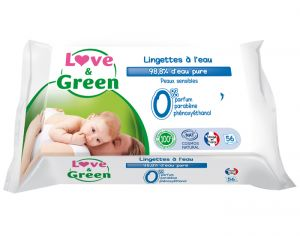 Lingettes Love and Green 0% - 56 Lingettes à l'Eau