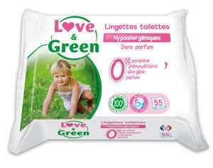 Lingettes Love and Green 0% - 55 Lingettes Toilettes 3 x 55 lingettes