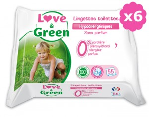 Lingettes Love and Green 0% - 55 Lingettes Toilettes 6 x 55 lingettes