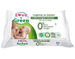 Lingettes Love and Green 0% - 56 Lingettes au Liniment  3 x 56 lingettes