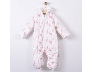 SEVIRA KIDS Combinaison Pilote Minky et Coton Bio - Impression 3D - Collection Cerf Rose