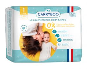 Couches Carryboo Dermo-sensitives - Couches Écologiques  T1 / 2-5 kg / 27 couches