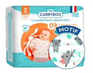 Couches Carryboo Dermo-sensitives - Couches Écologiques  T2 / 3-6 kg / 30 couches