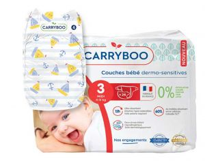 Couches Carryboo Dermo-sensitives - Couches Écologiques  T3 / 4-9 kg / 26 couches