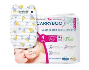 Couches Carryboo Dermo-sensitives - Couches Écologiques  T4 / 7-18 kg / 23 couches