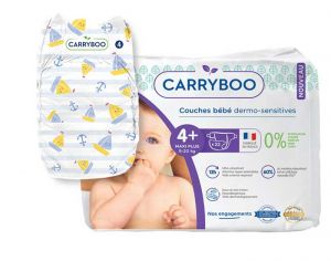 Couches Carryboo Dermo-sensitives - Couches Écologiques  T4+ / 9-20 kg / 22 couches