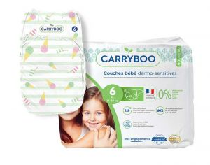 Couches Carryboo Dermo-sensitives - Couches Écologiques  T6 / 16-30 kg / 17 couches