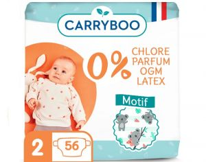 Couches Carryboo Dermo-sensitives - Couches Écologiques - Pack Economique T2 / 3-6 kg / 56 couches