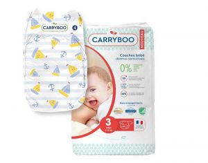 Couches Carryboo Dermo-sensitives - Couches Écologiques - Pack Economique T3 / 4-9 kg / 54 couches
