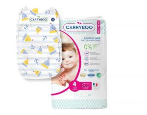 Couches Carryboo Dermo-sensitives - Couches Écologiques - Pack Economique T4 / 7-18 kg / 48 couches