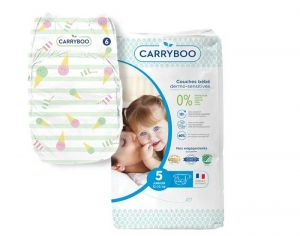 Couches Carryboo Dermo-sensitives - Couches Écologiques - Pack Economique T5 / 12-25 kg / 44 couches