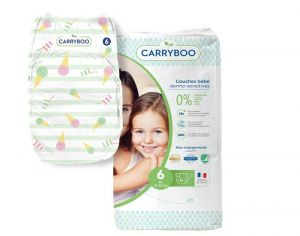 Couches Carryboo Dermo-sensitives - Couches Écologiques - Pack Economique T6 / 16-30 kg / 36 couches
