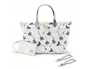 SEVIRA KIDS Sac à main multifonctions - pour la poussette ou à langer - Medium - Boho Arrows Blanc