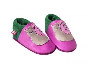 POLOLO Chaussons en Cuir - Escargot Rose