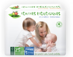 BIOBABBY Couches Jetables Écologiques - Made in France 5 Junior 12-25 Kg - Paquet de 28