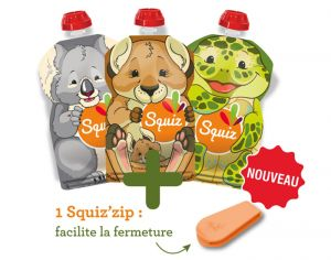 SQUIZ Lot de 3 Gourdes Réutilisables Australia 130 ml + 1 Curseur Squiz'Zip