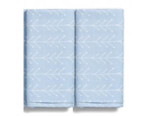 GLOOP! Lot de 2 Maxi-Langes Bio - Bleu Nordique