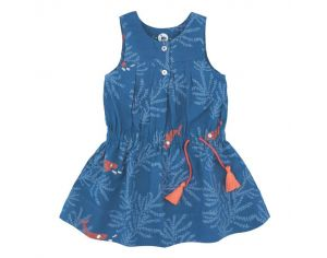 LA QUEUE DU CHAT Robe Fille Bleu Nuit & Corail