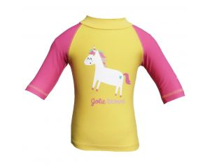 PIWAPEE Top Lycra Anti UV UPF50+ - Licorne Jaune et Rose