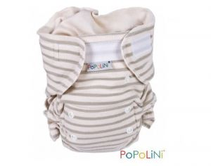 POPOLINI Couche Lavable Ultrafit Interlock Soft - Rayé Nature - 3-15 kg
