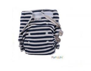 POPOLINI Couche Lavable Ultrafit Interlock Soft - Rayé Marine - 3-15 kg