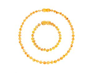 IRREVERSIBLE BIJOUX Collier et bracelet d'ambre honey miel - ambre 100% naturelle