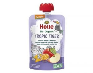 HOLLE Gourde Tropic Tiger - Pomme Mangue Fruits de la Passion - 100 g - Dès 8 mois
