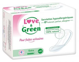 LOVE & GREEN Serviettes Incontinence Extra - Paquet de 10