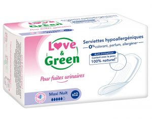 LOVE & GREEN Serviettes Incontinence Nuit - Paquet de 12
