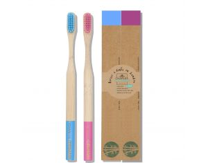 CHARLES GERMAIN COSMETICS Brosse à dents en bambou - Pack de 2 Bleu & Rose