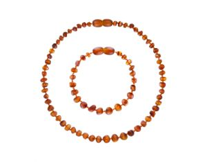 Collier et Bracelet d'Ambre Cognac - Ambre 100% Naturelle - Normes de Sécurité : Fermoir Pop-Up