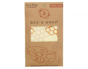 BEE'S WRAP Emballage Alimentaire Cire d'Abeille Lot de 3 Large - 33 x 35 cm