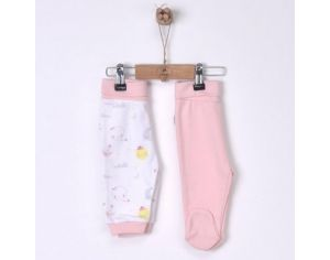 SEVIRA KIDS Lot de 2 pantalons bébé en coton bio - Dreams Rose