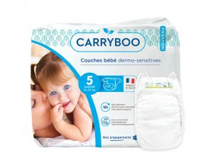 CARRYBOO Couches Ecologiques Dermo-sensitives T5 - 12 à 25Kg - 6x21 couches Blanc