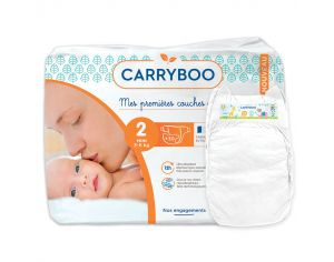 CARRYBOO Couches Ecologiques Dermo-sensitives T2 - 3 à 6Kg - 5x30 couches Blanc