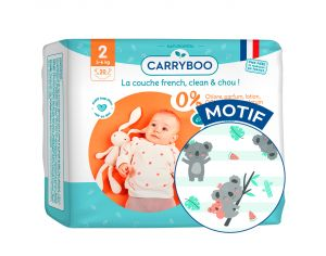 CARRYBOO Couches Ecologiques Dermo-sensitives T2 - 3 à 6Kg - 5x30 couches Fanfare