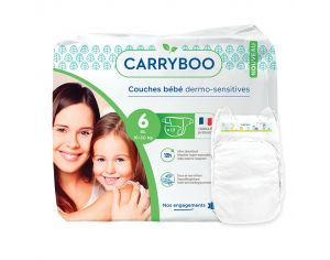 CARRYBOO Couches Ecologiques Dermo-sensitives T6 - 16 à 30 Kg - 6x17 couches Blanc