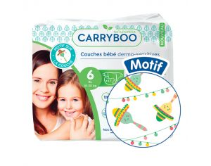 CARRYBOO Couches Ecologiques Dermo-sensitives T6 - 16 à 30 Kg - 6x17 couches Mariachi