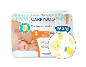 CARRYBOO Couches Ecologiques Dermo-sensitives T2 - 3 à 6Kg - 30 couches Citron