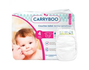 CARRYBOO Couches Ecologiques Dermo-sensitives T4 -7 à 18 Kg - 23 couches Blanc